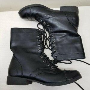 Brash 6.5 Black Boots Lace Up Combat Military Moto